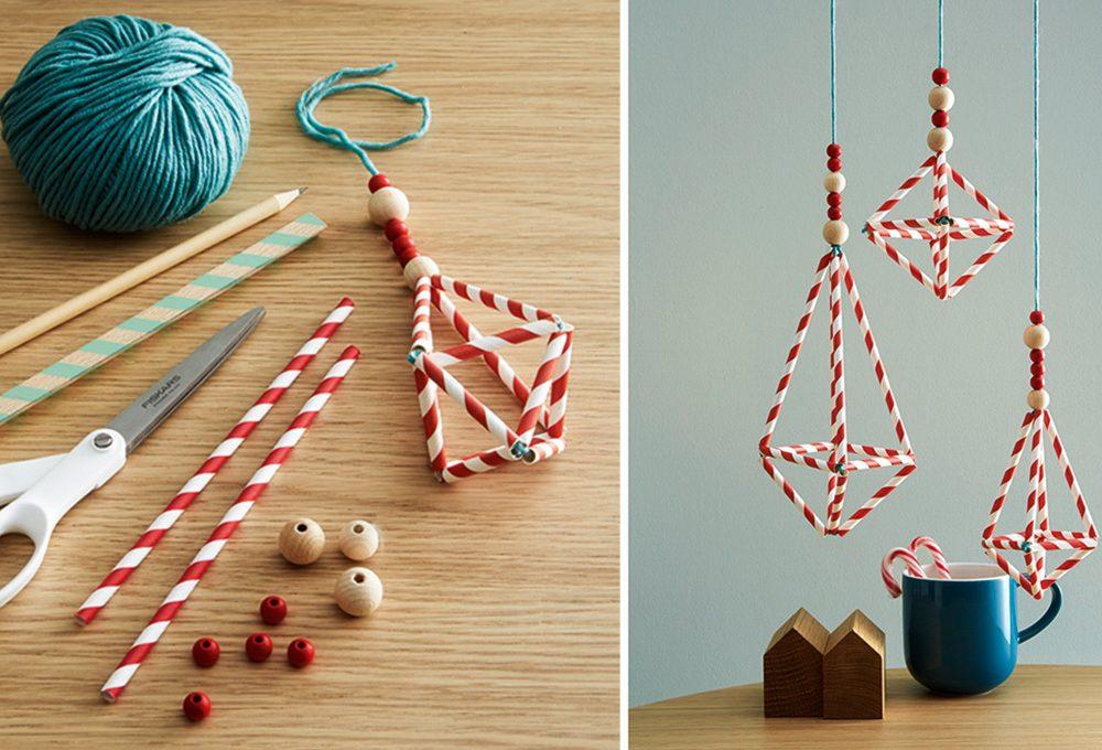Decori natalizi last minute: gli chandelier con le cannucce