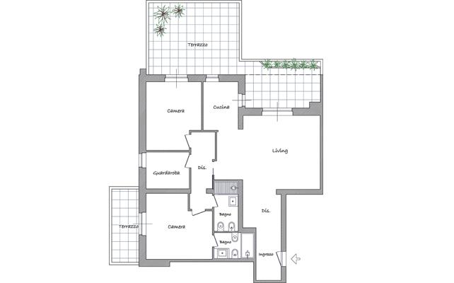 Più spazio a living e cucina? Sposta la cameretta