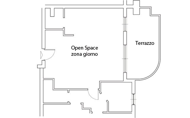 Il progetto per un soggiorno open, la cucina nascosta e lo studio in nicchia