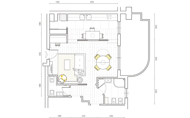 Il progetto per un soggiorno open, la cucina nascosta e lo studio in ...