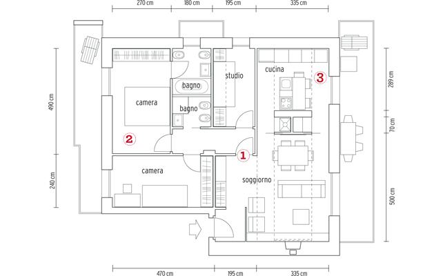 Un bilocale pi funzionale con cucina a vista e cabina - Quanto costa costruire una casa di 100 mq ...