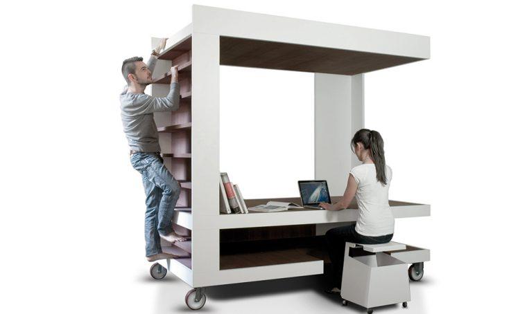 Idee geniali: l'isola che fa da letto/scrivania/libreria