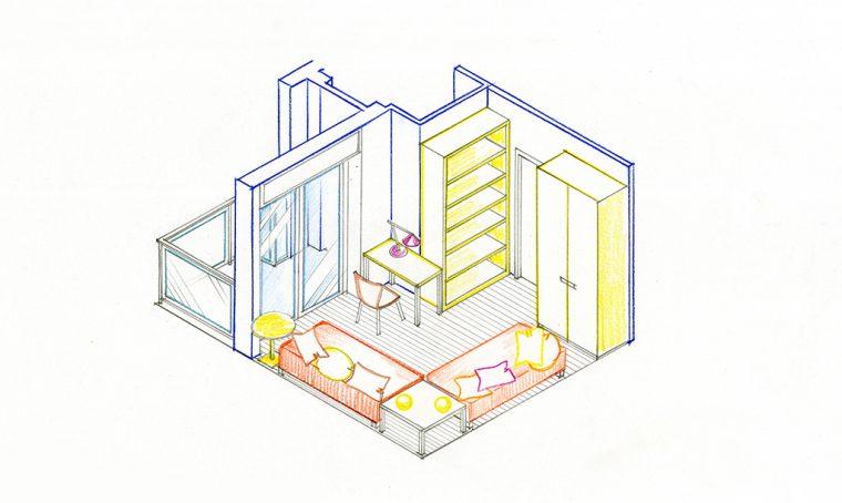 Cucina open e bagno in più: progetto per una casa al mare