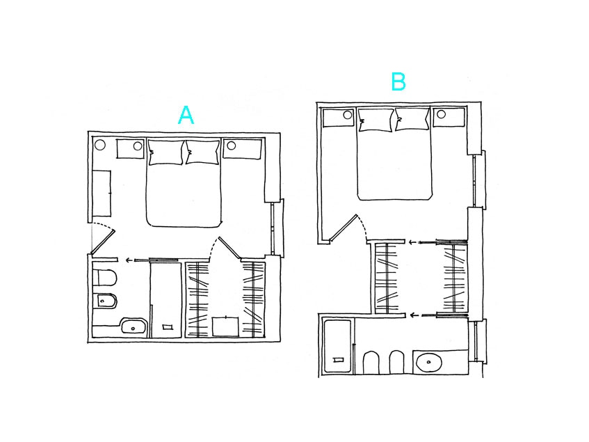 Come progettare la cabina armadio su due pareti casafacile - Planimetria camera da letto ...