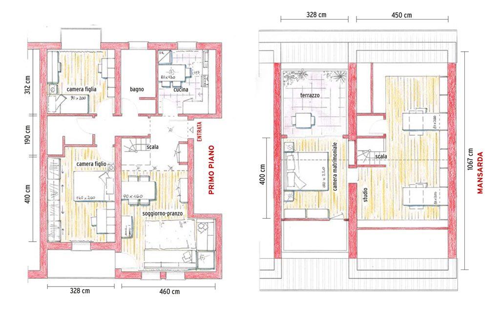 Un quadrilocale in 2 versioni casafacile for Piani di casa con due master suite al primo piano