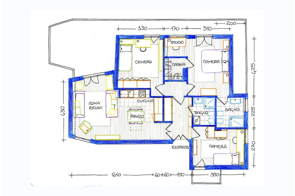 Da 3 a 4 locali in un appartamento di 90mq casafacile for Planimetria stanza