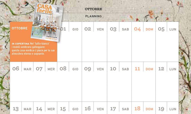 CasaFacile di ottobre ti regala il planning del mese