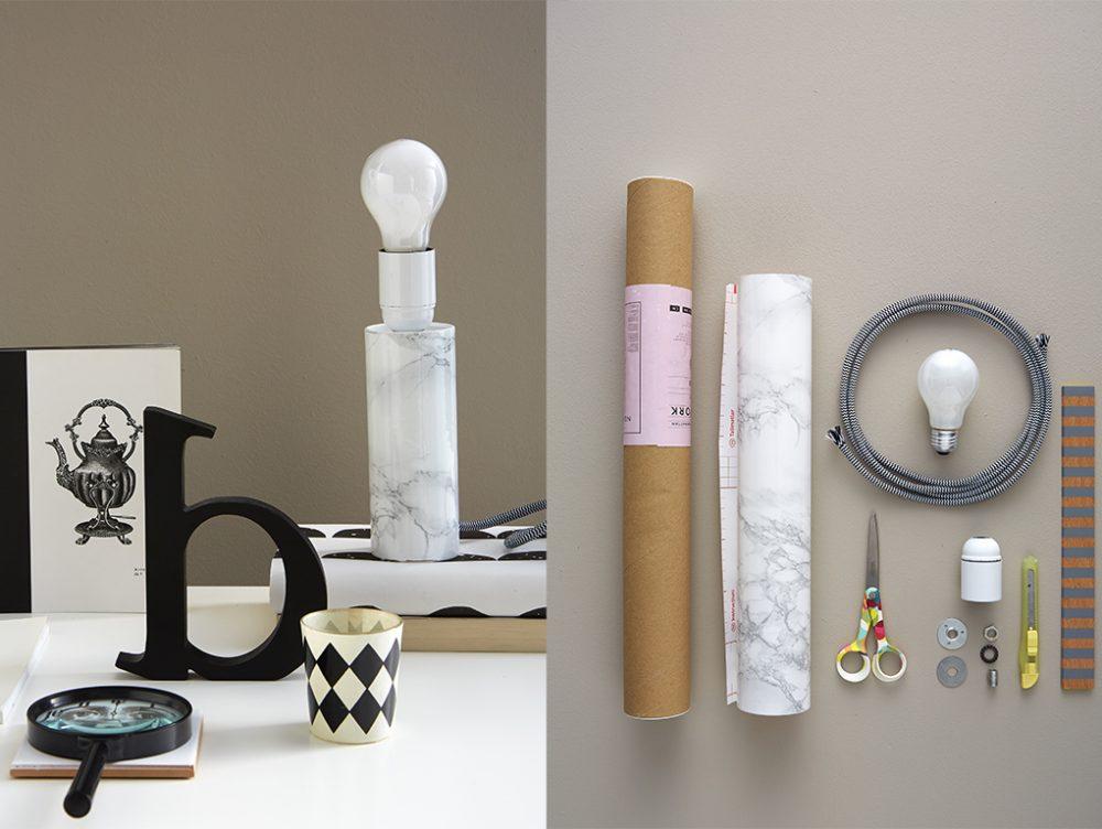 La lampada da tavolo effetto-marmo
