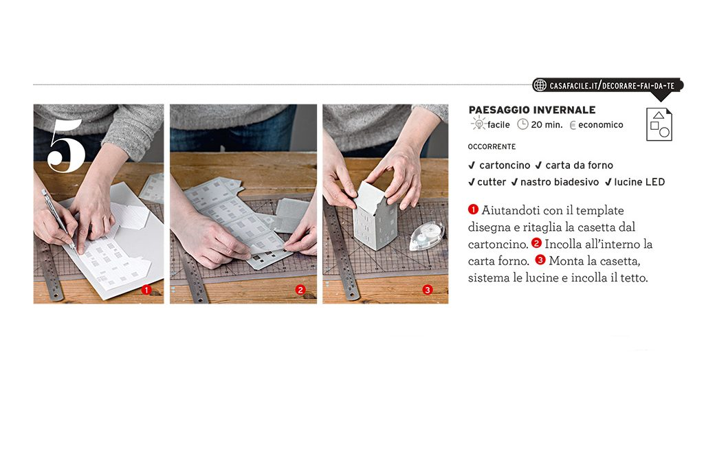 Casetta Di Natale Da Colorare : Decorazioni di natale da stampare: le casette illuminate casafacile