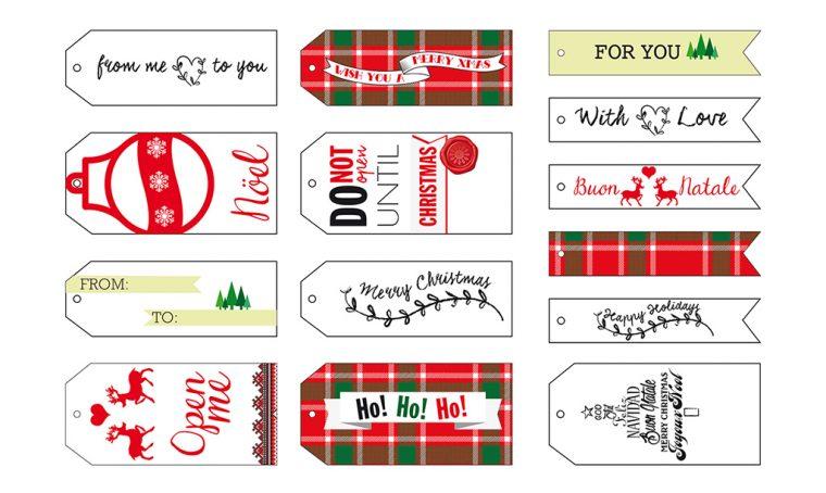 Decorazioni di Natale da stampare: etichette personalizzate