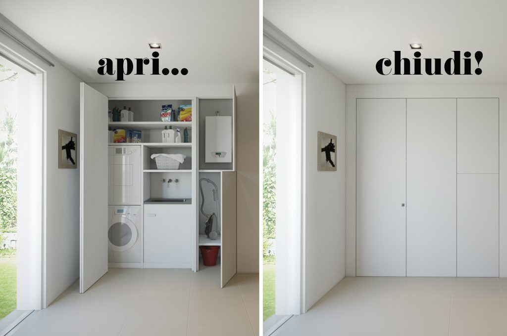 L 39 armadio a muro per nascondere lavanderia ripostiglio guardaroba casafacile - Serranda elettrica casa ...