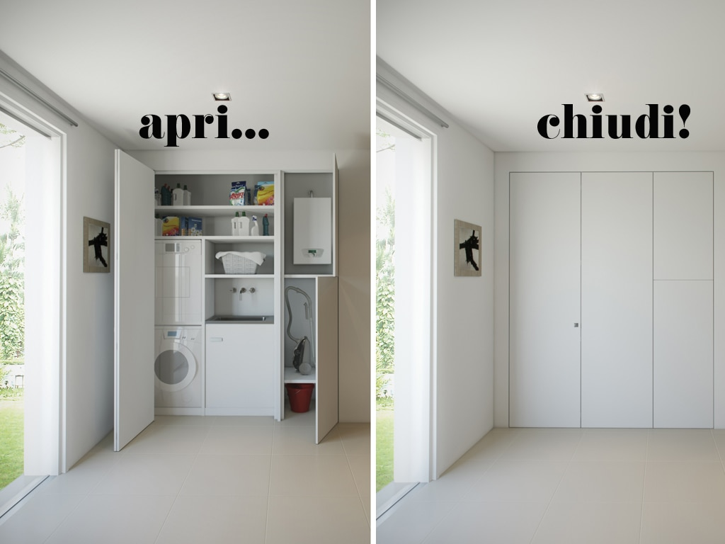 L 39 armadio a muro per nascondere lavanderia ripostiglio for Armadio da soggiorno