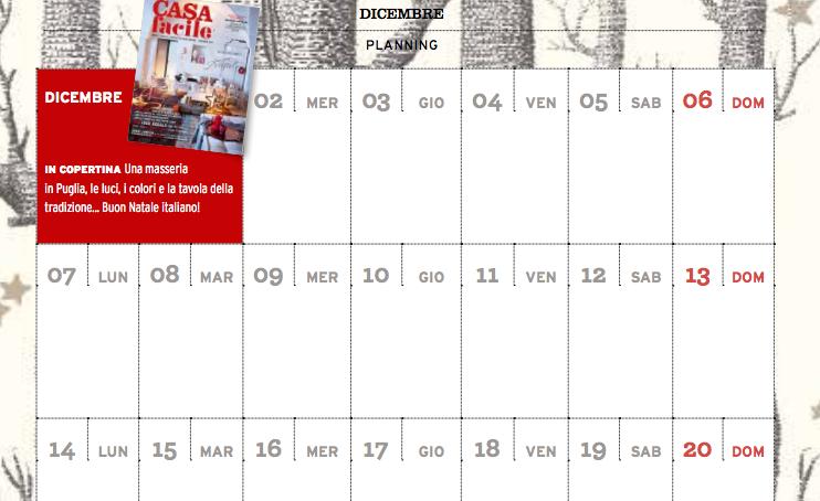 CasaFacile di dicembre ti regala il planning del mese