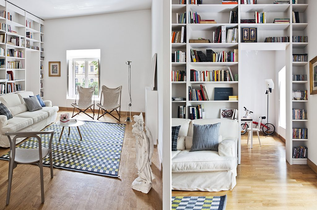 Libreria a ponte con divano for Parete attrezzata con divano
