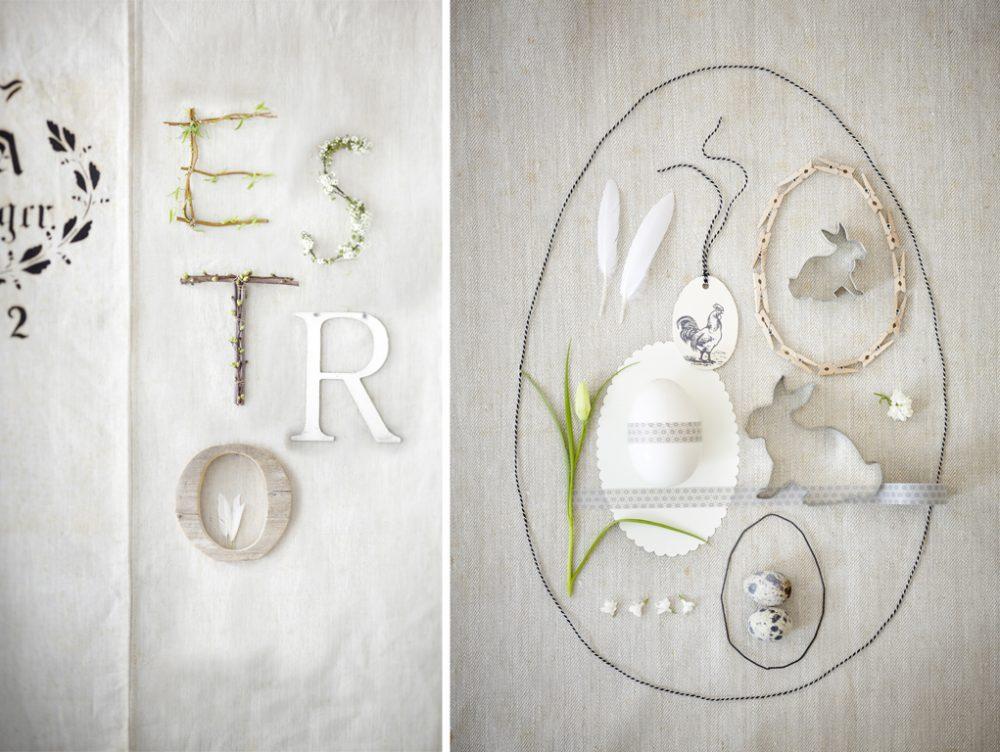 Decorazioni pasquali in stile romantico rétro