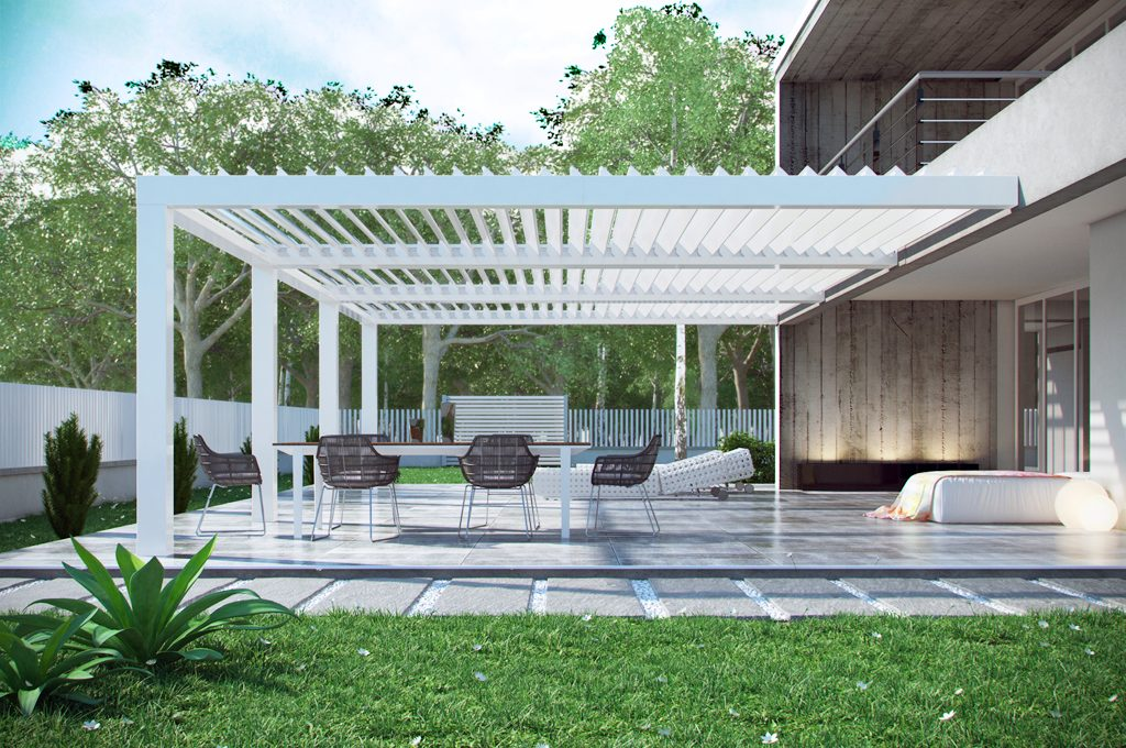 Con la pergola bioclimatica bt group hai una stanza in pi - Mobili giardino varese ...