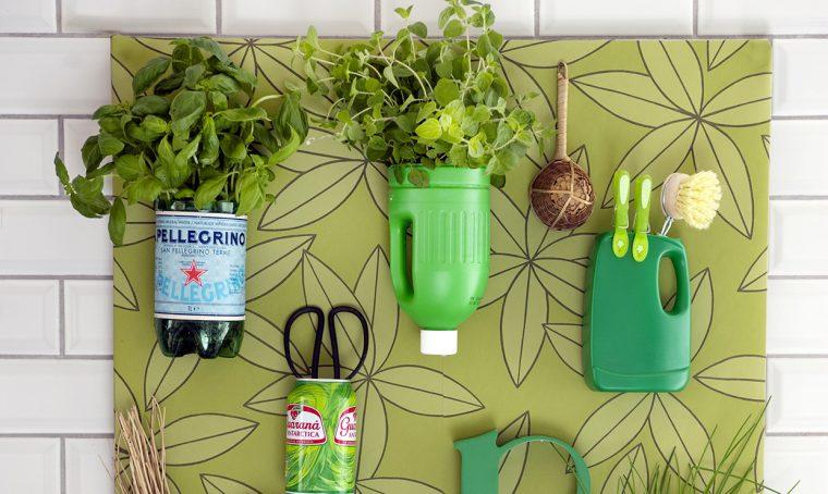 Riciclo creativo: l'angolo verde per piante aromatiche