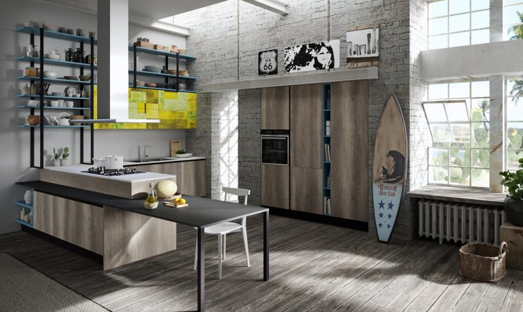 Una cucina moderna effetto legno