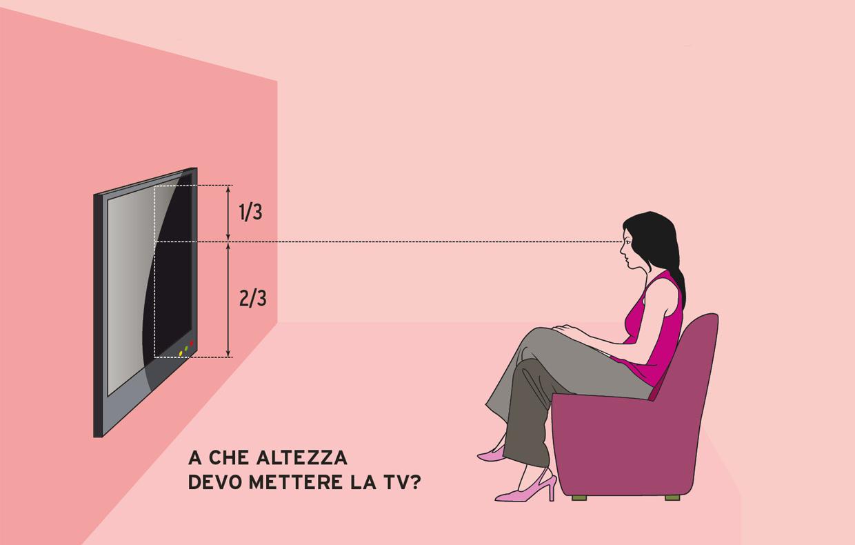 L\'altezza e la distanza giusta per guardare bene la tv - CASAfacile