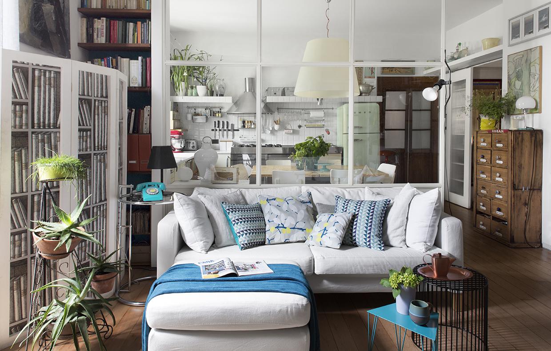 Parete vetrata tra soggiorno e cucina trasformazione di un open space casafacile - Open space cucina soggiorno ...