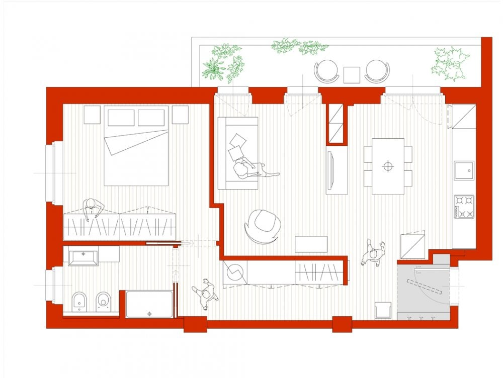 Un bilocale pi funzionale con cucina a vista e cabina for Cabina a 2 piani