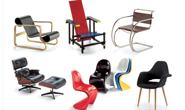 100 sedie icone di design in miniatura