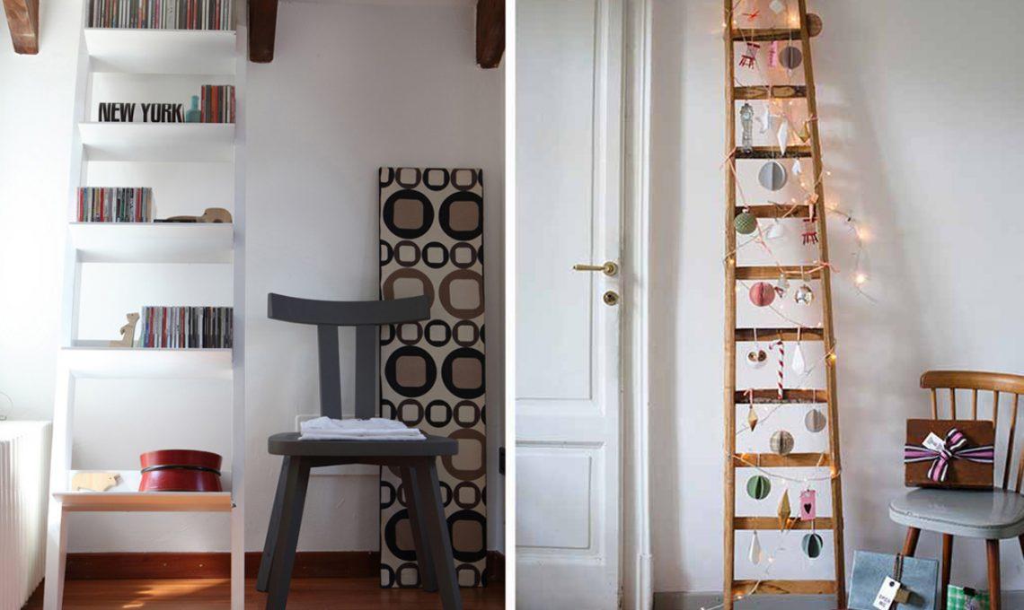 15 idee per arredare con una scala a pioli casafacile for Idee per arredare casa a natale