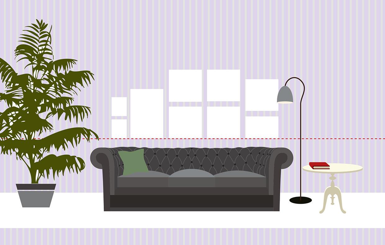 Super foto da appendere za68 pineglen - Altezza quadri sopra divano ...