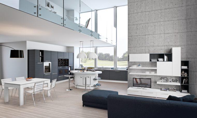 La cucina a vista da vivere a 360°
