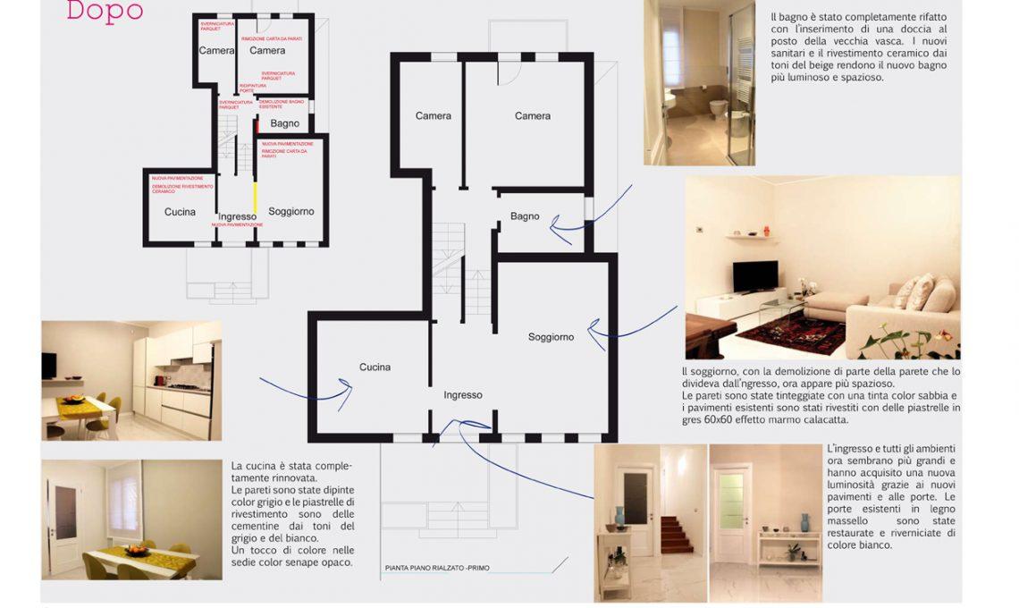 Prima e dopo restyling totale di una casa anni 39 80 for Parete soggiorno marrone