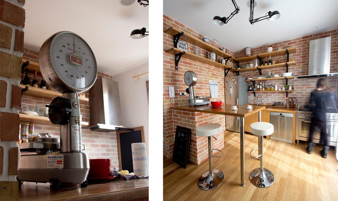 Soggiorno con cucina open e mattoni a vista effetto loft - Cucina in mattoni faccia vista ...
