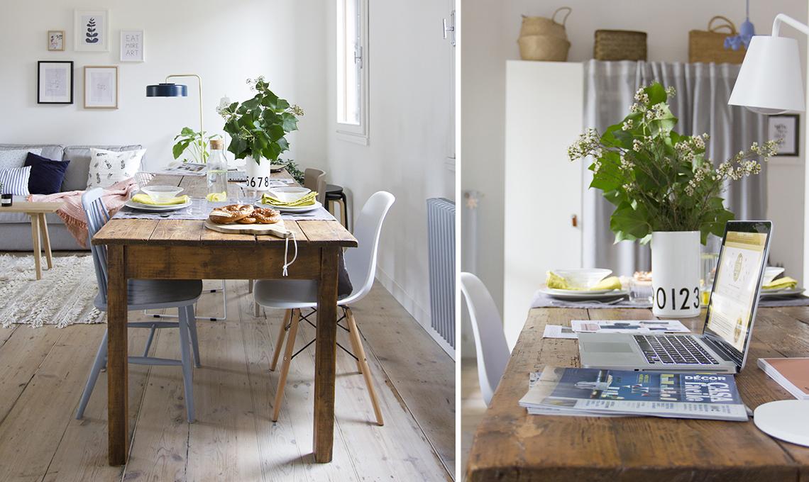 tavolo vintage con sedie moderne