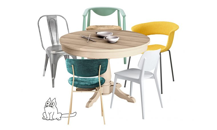 6 sedie adatte al tavolo tondo in stile