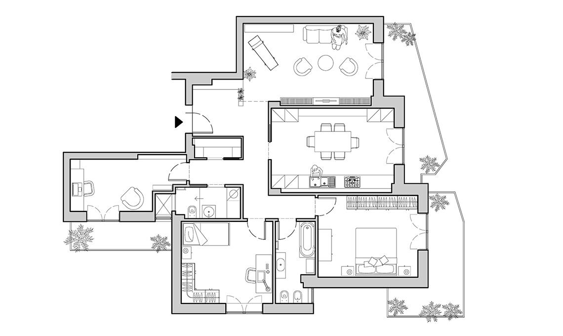 Una zona giorno pi ampia e maggiore privacy per la zona for Planimetrie della casa piscina con bagno
