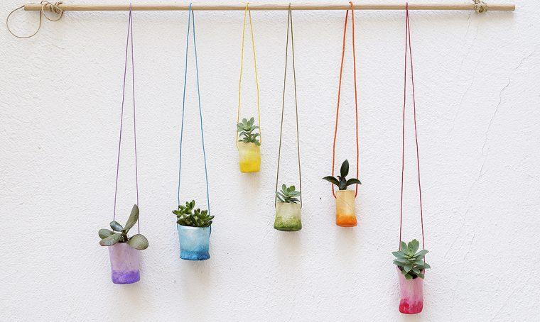 Mini vasi in argilla decorati con effetto sfumato