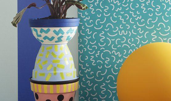 Tendenza Memphis: vasi decorati fai da te