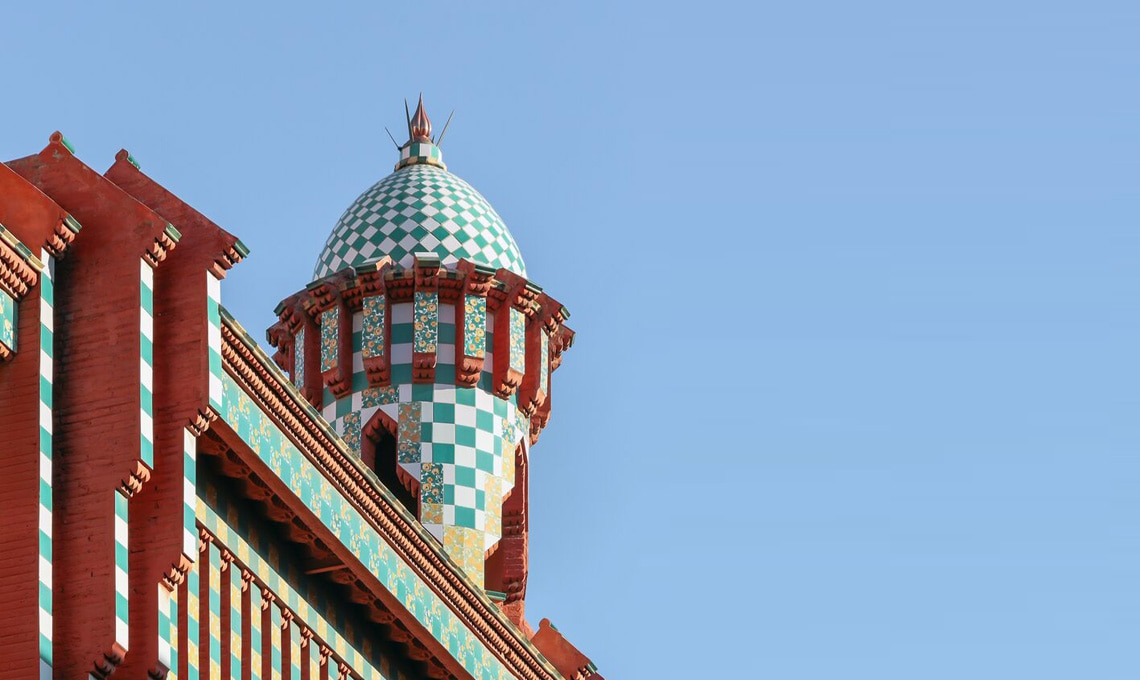 Una torretta Casa Vincens di Antoni Gaudí a Barcellona