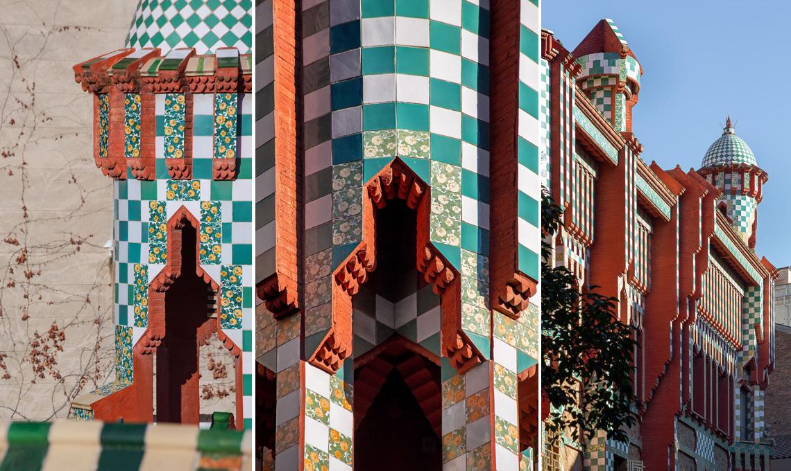 Dettagli delle decorazioni geometriche di Casa Vincens di Antoni Gaudí a Barcellona