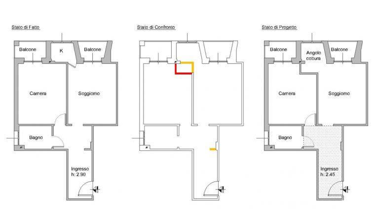 Il piccolo bilocale di 45 mq diventa una casa luminosa e funzionale