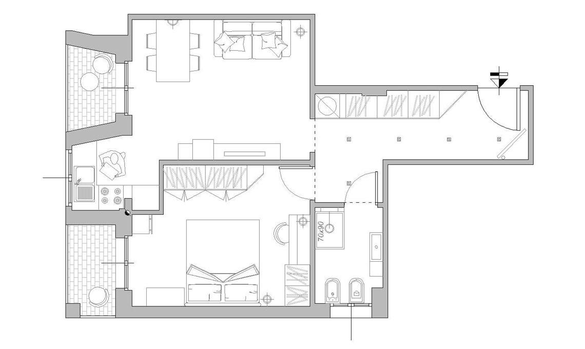 Progetto casa 60 mq perfect progetto casa di riposo dwg for Monolocale dwg