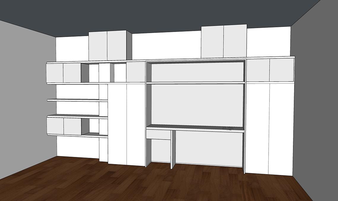 Una grande parete attrezzata: la libreria si trasforma in angolo ...