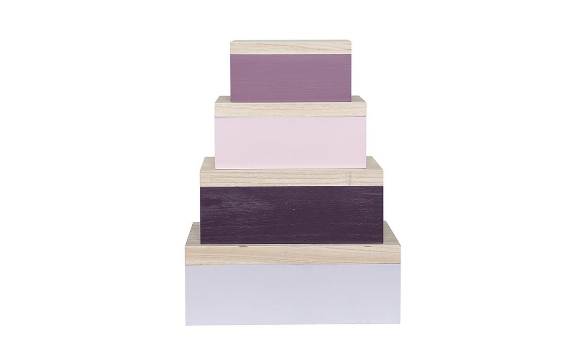 scatole in legno colorate
