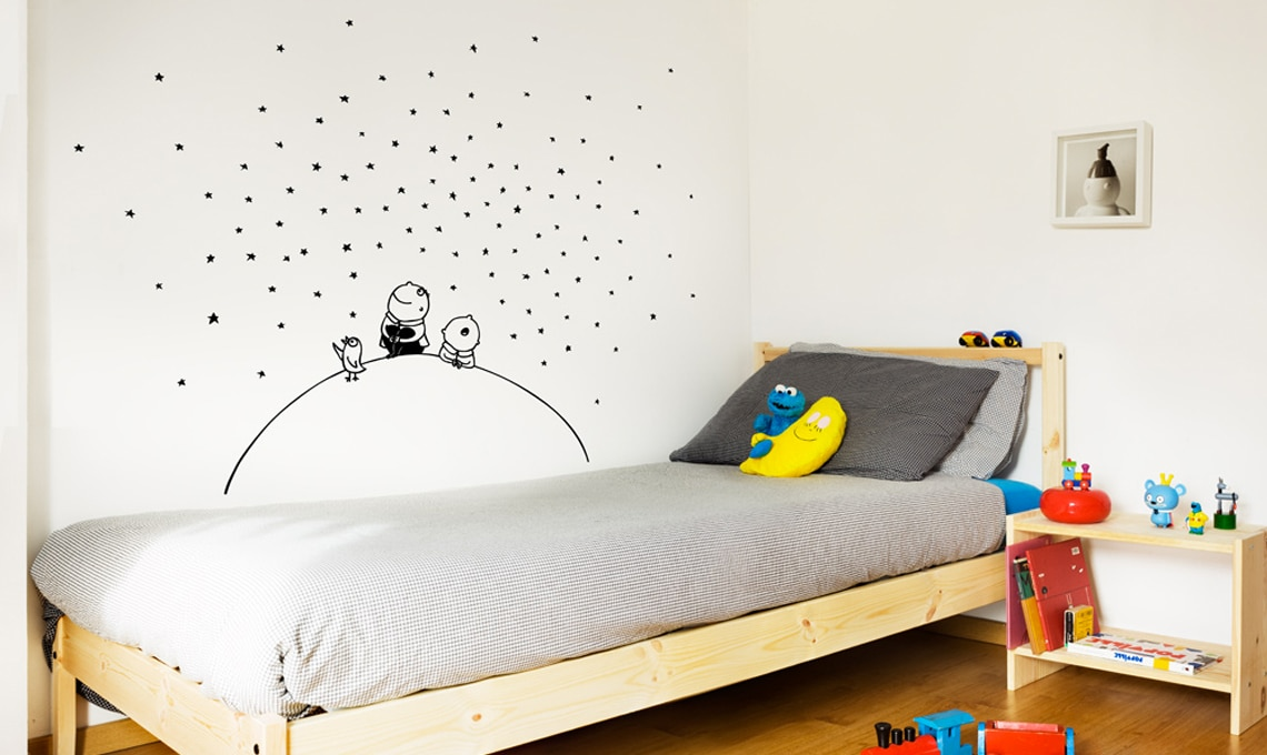 Pareti Cameretta A Pois : Decorare le pareti della cameretta con gli adesivi casafacile