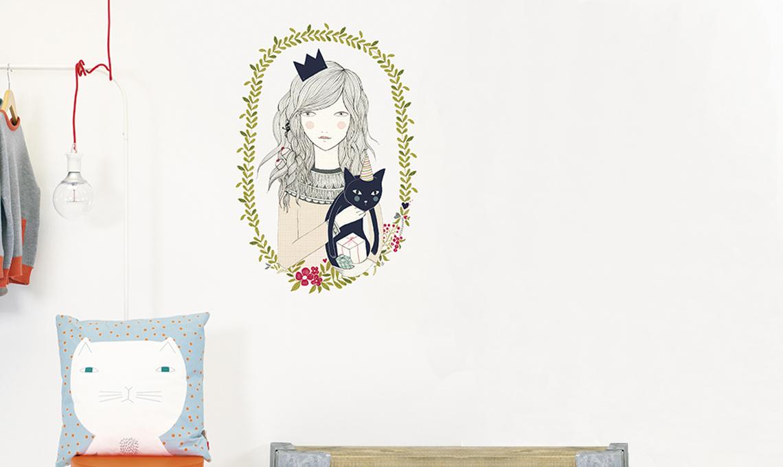 Stickers ragazza con gatto di Chispum