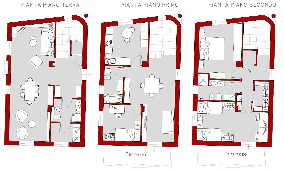 progetto villa su 3 piani