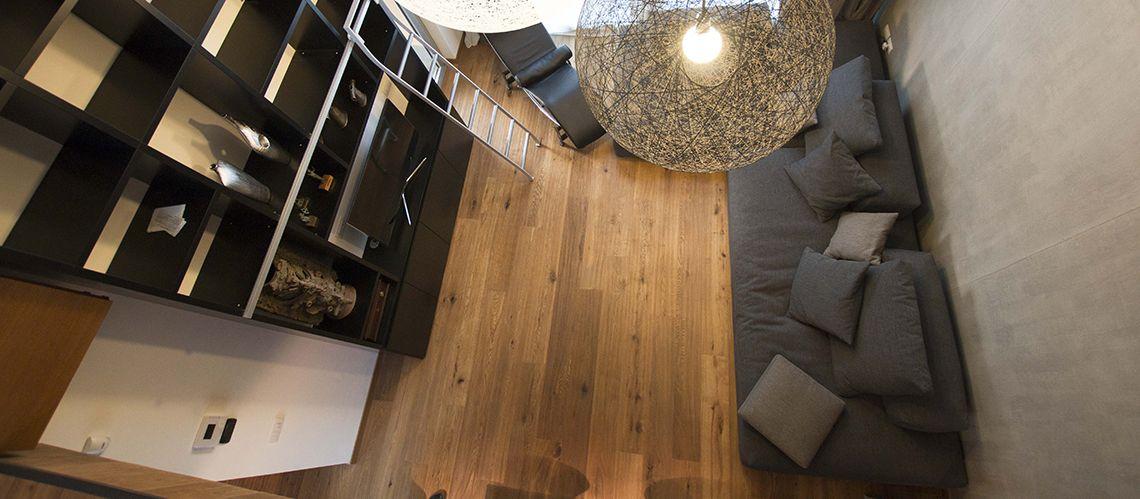85 mq con la camera in più sul soppalco