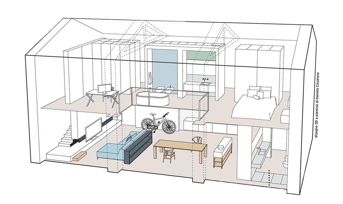 L 39 ex fienile si trasforma in un open space minimal pieno - Disegno pianta casa ...