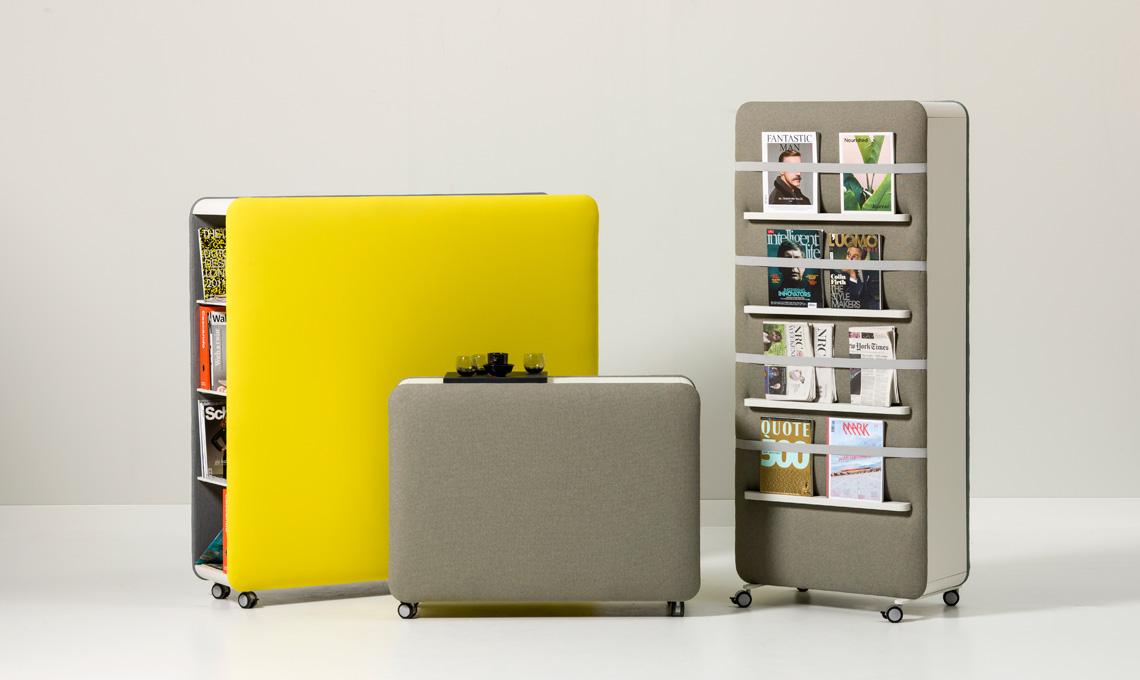 Divisori multifunzionali che si possono completare con tanti accessori, per rendere l'ufficio più bello e insonorizzato (Robert Bronwasser per Cascando)