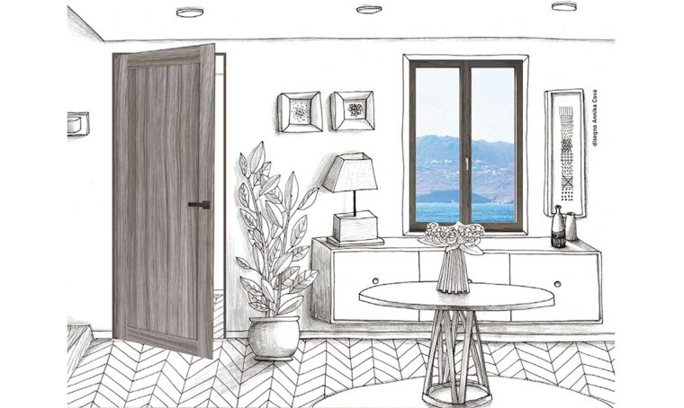 porta in legno grigio