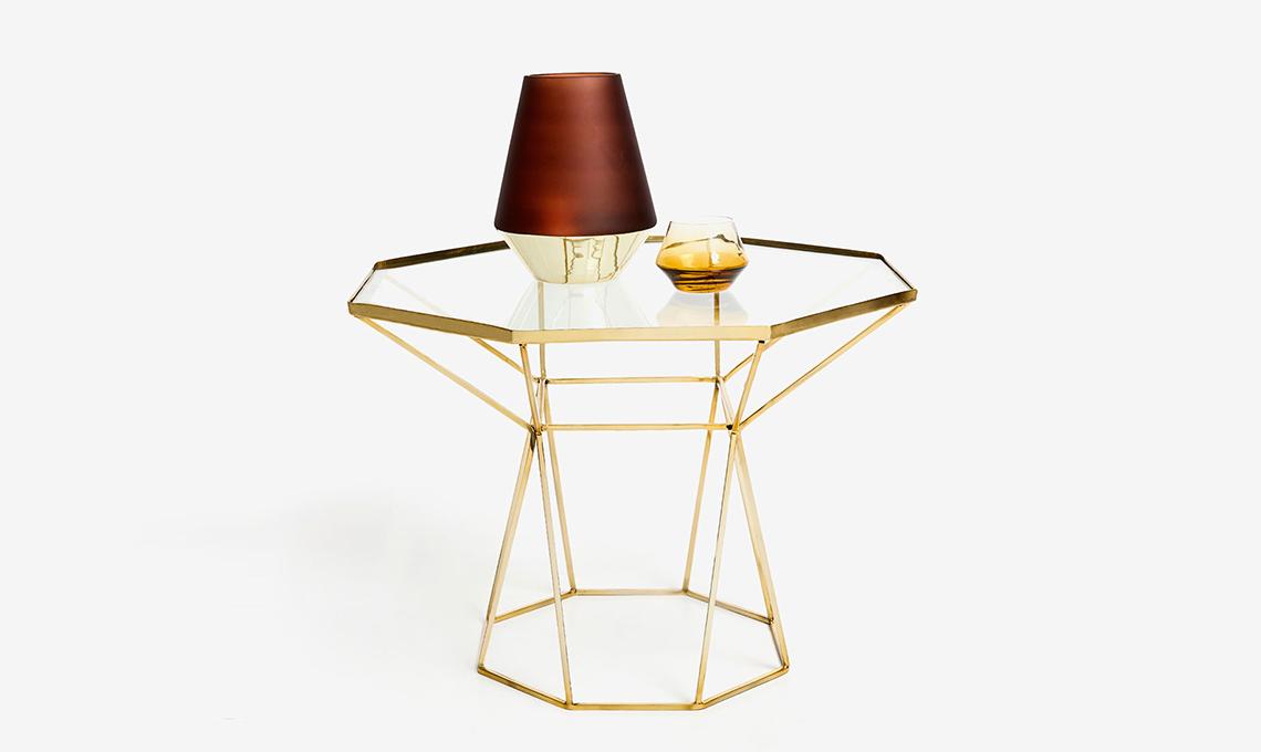 tavolino in cristallo e ottone